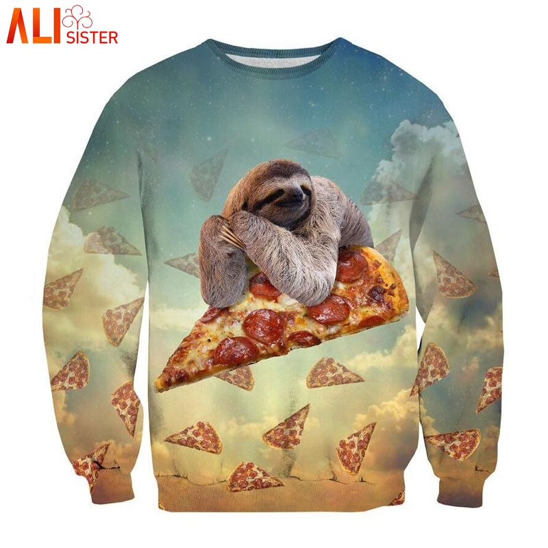 Alisister Animal Sweatshirt Pizza Sloth Hoodies Swearshirts Men Women's Cat Hoodie Winter Autumn 3d Galaxy Clothes