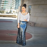 European Fashion Modern Style Shiny Sequin Mermaid Skirt Floor Length Long Maxi Skirt Personalized Women Skirts Street Style