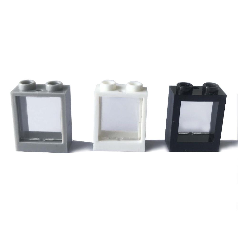 20 шт./лот окно 1x2x2 со стеклом DIY строительные блоки кирпичи детали, совместимые с сборными частицами
