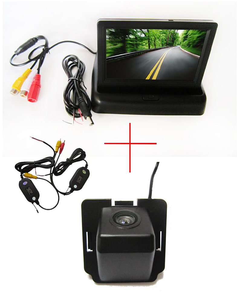 Wireless Color Car Rear View Camera for Mitsubishi Outlander 2007-2010,with <font><b>4.3</b></font> <font><b>Inch</b></font> foldable LCD <font><b>TFT</b></font> Monitor image