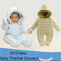 Новорожденных snowsuit капюшоном из искусственного меха воротник утолщение пиджаки комбинезоны Новая зимняя детская baby one-piece снег износ ноги охватывает