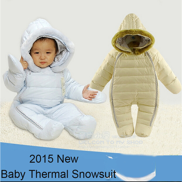 Newborn snowsuit hooded faux fur collar thickening outwear coveralls New winter infant baby one-piece snow wear feet covers
