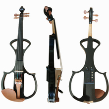 Black Full Size 4/4 Silent Electric Violin Solid Wood Maple with Bow Hard Case Tuner Headphone Rosin Audio Cable Strings handmade new top model art 5 strings red 4 4 electric violin streamline case rosin bow included string instrument