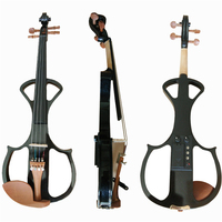 Black Full Size 4/4 Silent Electric Violin Solid Wood Maple with Bow Hard Case Tuner Headphone Rosin Audio Cable Strings