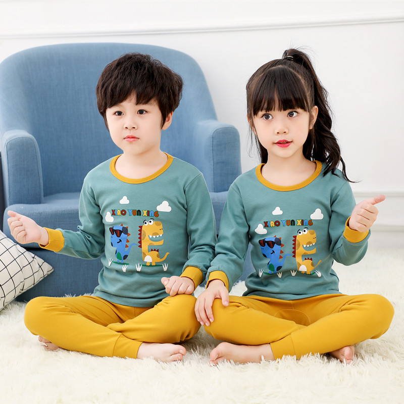 Big Boys Girls   Pajamas   Dinosaur 100% Cotton Long Sleeve Pyjama Baby Toddler Clothes Kids Sleepwear 2pcs   Pajama     Set   Pijama Bebes