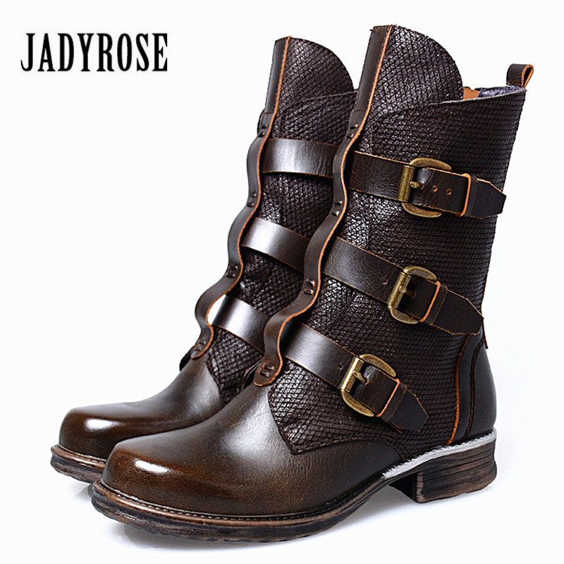 Jady Rose Punk Style Women Martin Boots Straps Buckle Genuine Leather High Boots Female Platform Shoes Woman Winter Autumn jady rose vintage brown women genuine leather mid calf boot chunky high heel platform boots straps buckle decor martin botas