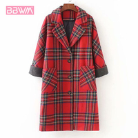 Exquisite women's 2018 winter new hit color plaid woolen coat in the long loose casual women's jacket Single breasted lapel red