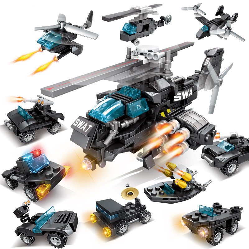 New 10 In 1 SWAT Team Transport Helicopter Fit Legoings SWAT Military City Police Figures Building Blocks Bricks Kid Gift Toys