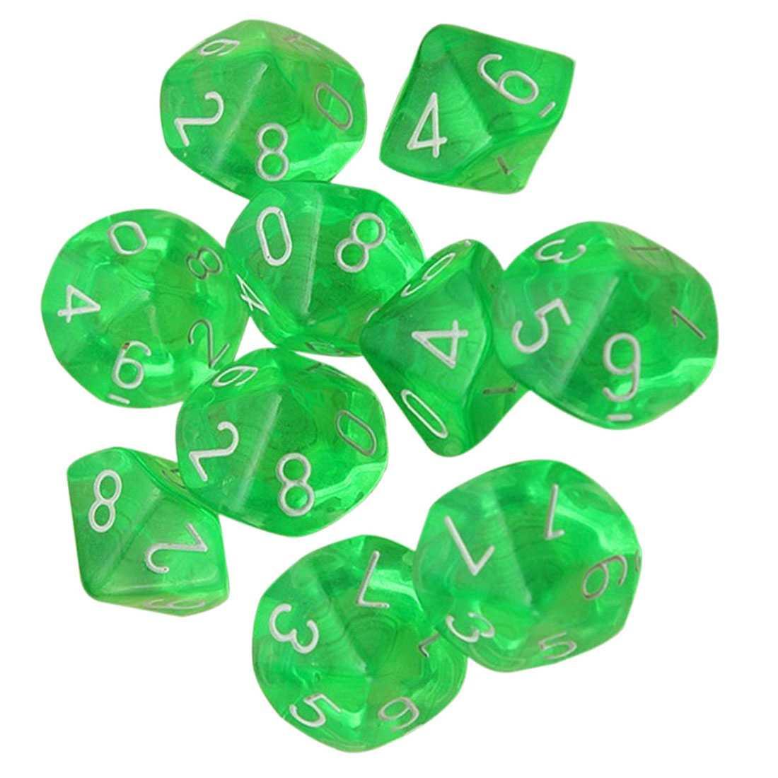 10-Dices D10 10-сторонняя игральная кость из драгоценного камня для РПГ Подземелья и Драконы настольные игры прозрачный зеленый