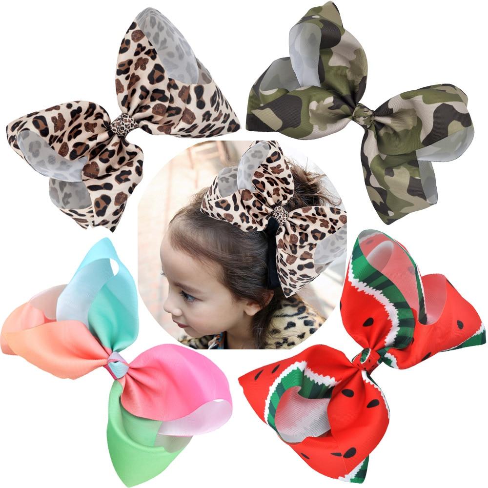 4 Inch Grosgrain Pita Rambut Busur Dengan Klip Buaya Emoji Ikat Anak Ariees 8 Besar Leopard Print Rainbow