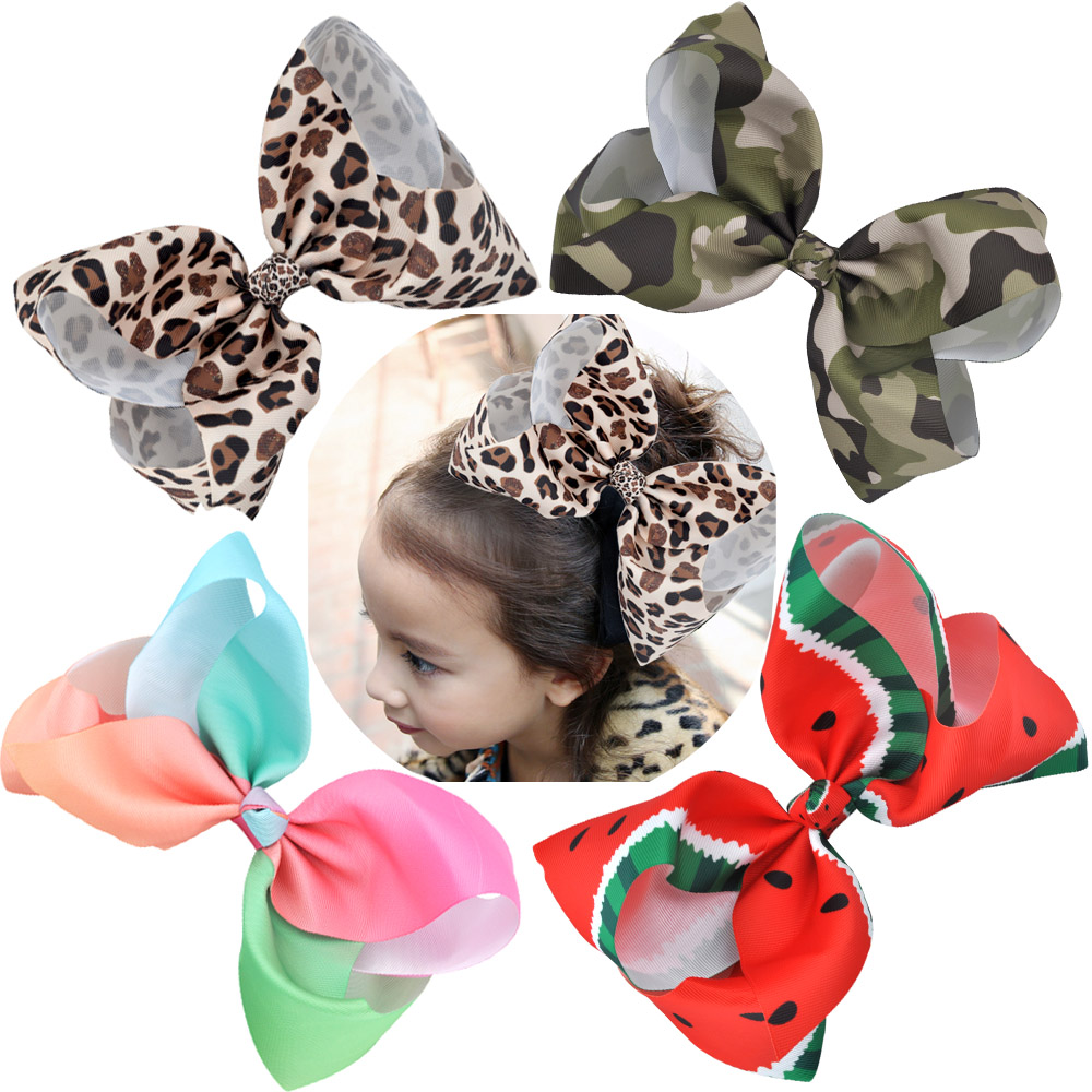8 Inch Big Large  Hair Bows Leopard Print Rainbow Grosgrain Ribbon Hairpins Childrens Girls Hair Accessories Alligator Clips usd1 69 pc 5inches big stacked boutique bows with 6cm hair clip hairpin 8 colors solid grosgrain ribbon bows hair accessories