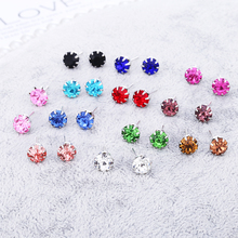 Bohopan 12Pairs/Set Exquisite Rhinestone Stud Earrings Set Simple Colorful For Women Classic Geometric 2019