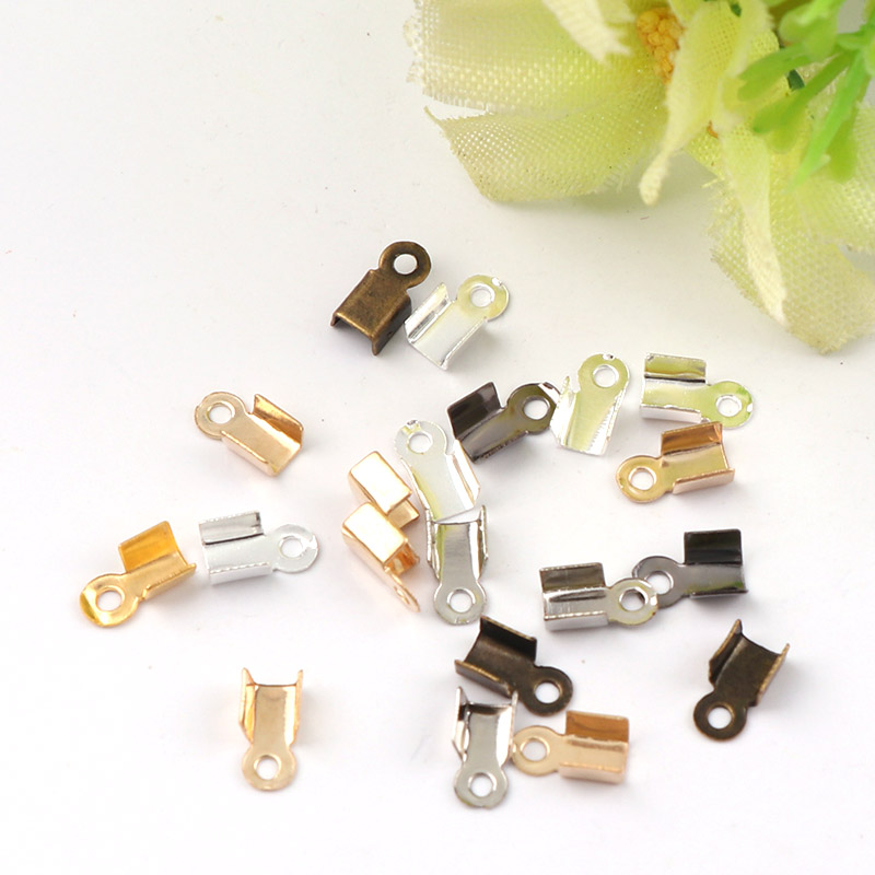 3x8mm Crimp beads cove clasps Cord End Caps String Ribbon leather Clip Foldover DIY Necklace Connectors Jewelry Findings