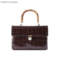 Luxury Crocodile Pattern Women Shoulder Bag Bambo Handle Tote Handbag Retro Female Leather Clutch Purse Crossbody