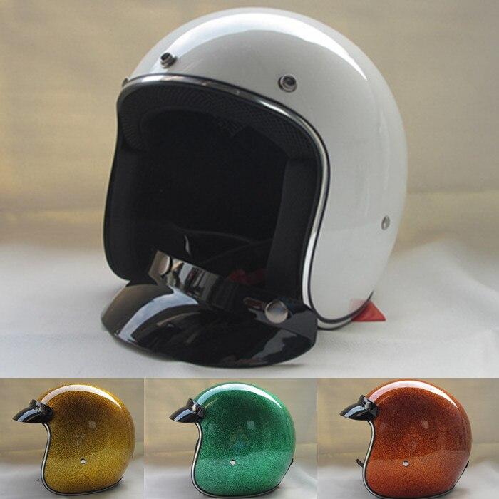 Бесплатная доставка КАСКО capacetes стекловолокна 3/4 открытым лицом Винтаж ретро шлем мужчины женщины мотоциклетный шлем
