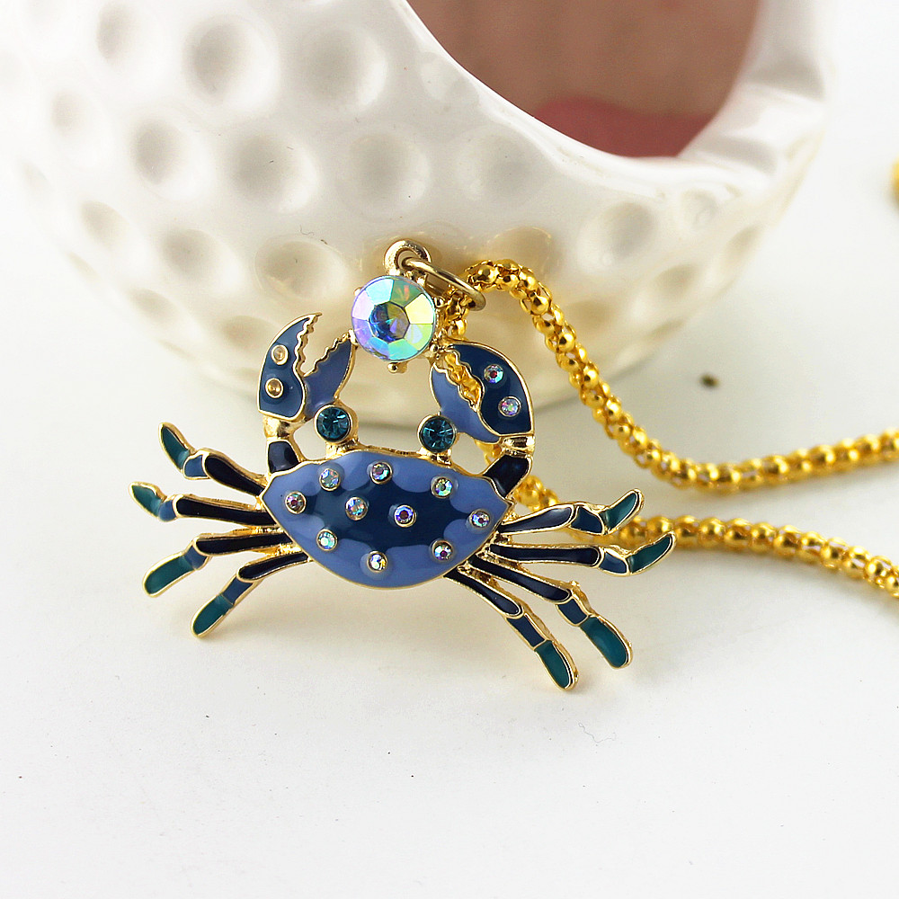 XQ xq Free shipping 2015 The new BJ blue crab Long necklace Gifts for girls gold necklace