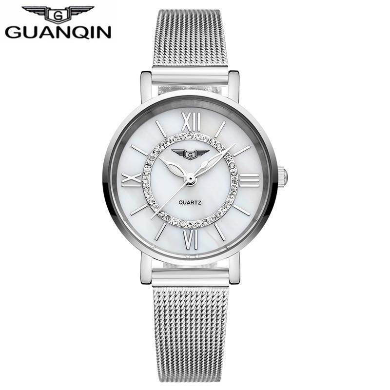 ФОТО GUANQIN GS19042 Women Watches Fashion Casual Watch Women Bracelet Watch Stainless Steel Strap relogio feminino famous brand