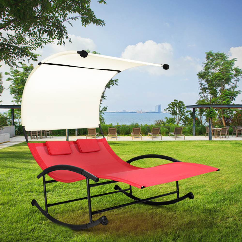 Ikayaa us stock outdoor double chaise rocker w canopy for Garden pool loungers
