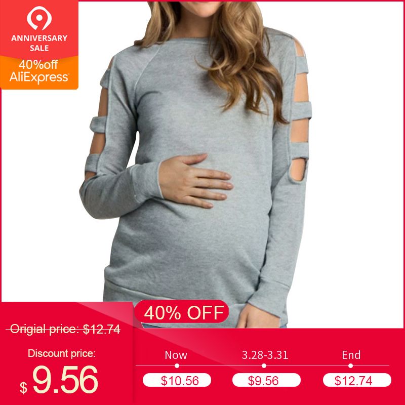2018 New Women clothing Round Neck Pure Loose Maternity ClothesLong Sleeve Top Blouse Shirt ropa de mujer pregnancy Nursing