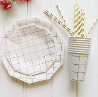 49Pcs/Set Gold Lattice Disposable Tableware Set Party Paper Cup/Plate/Straw Table Decor Wedding Birthday Baby Party Supplies