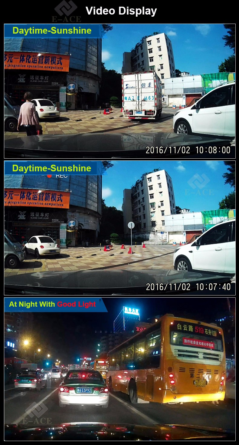 E-ACE Car Dvr WIFI DVRs Dual Camera Lens Registrator Dashcam Digital Video Recorder Camcorder Full HD 1080P 30FPS Night Version 26