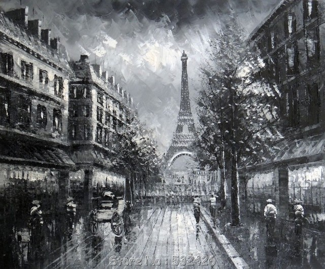 paris eiffel tower 1800 39 s black white rainy day handpainted oil painting on canvas wall art. Black Bedroom Furniture Sets. Home Design Ideas