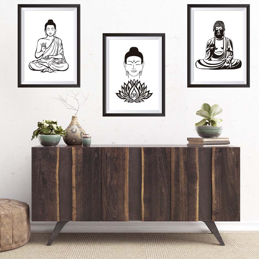 Lotus Flower Yoga Buddha Art Canvas Painting Wall Art Buddha Poster ...
