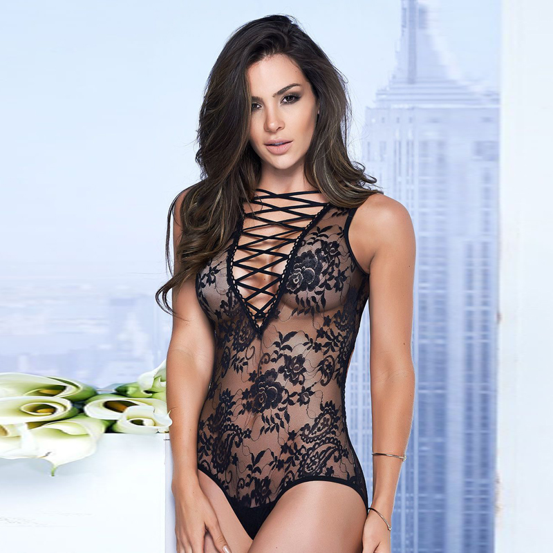 Sexy Teddies Mesh Black Lace Onesies Women Top Fashion Bandage Bodysuits Feminino Summer Romper Backless Nightwear Onesies ...