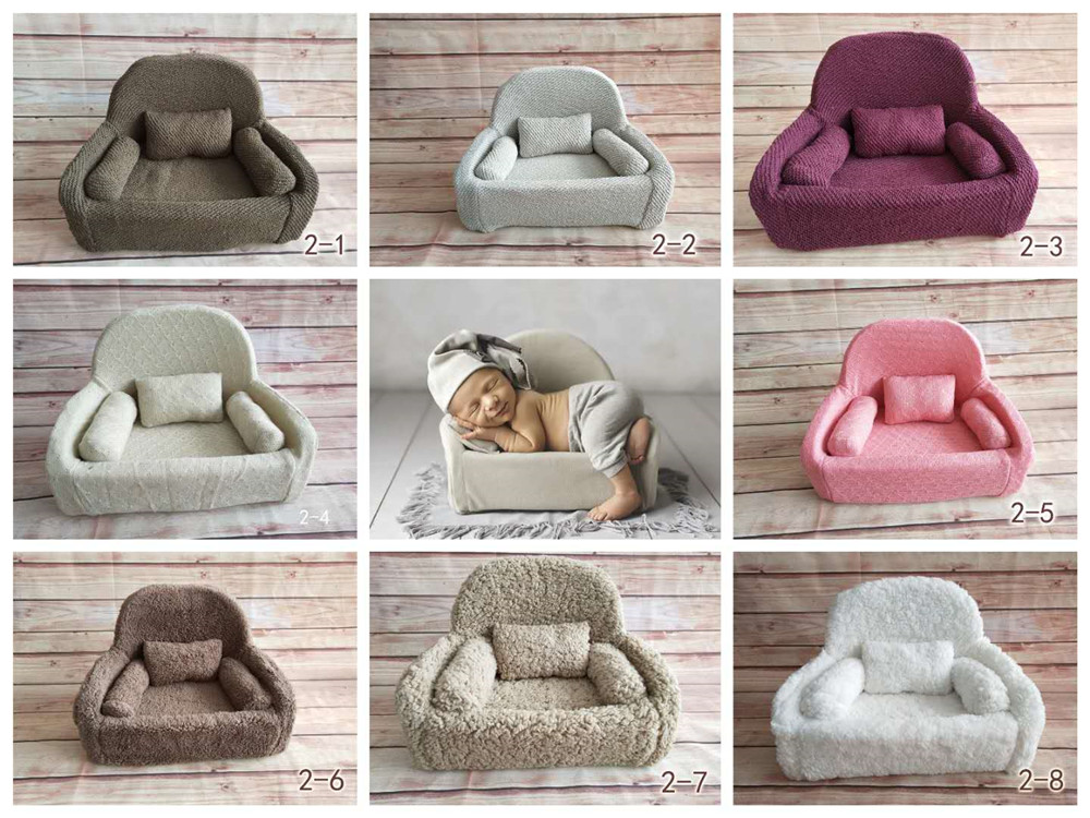Newborn Photography Baby Sofa Mini Posing Baby Seats Newborn Full Moon Photo Props Soft Kids Chair Unisex Posing Sofa Baskets