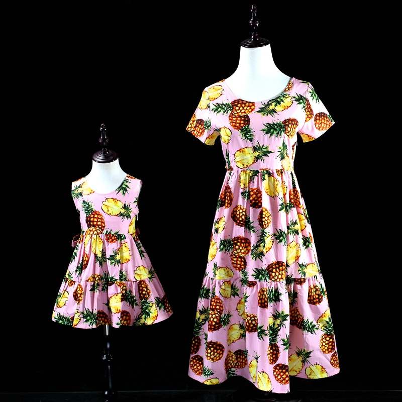 Mother kids cotton Dress Family look Clothes girls Summer pineapple bohemian long patchwork dress Mom and daughter beach dresses