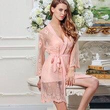 Daeyard женское весенне-осеннее сексуальное нижнее белье с цветочной вышивкой комплект шелковых пижам Ночное платье банный халат костюм