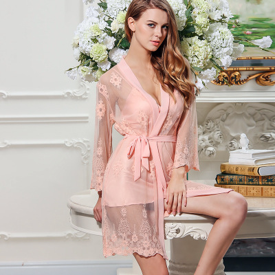 Daeyard Women Spring Autumn Sexy Lingeries Floral Embroidery Robe And Gown Set Silk Pajamas Sleepwear Night Dress Bath Robe Suit