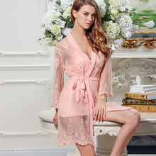 Daeyard Women Spring Autumn Sexy Lingeries Floral Embroidery Robe And Gown Set Silk Pajamas Sleepwear Night Dress Bath Suit