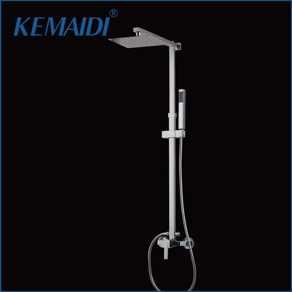 KEMAIDI Chrome Finished Wall Mount 8 Big Rain Shower Set Mixer Faucet Bathroom Shower With Adjust Height Handheld Shower Set gappo classic chrome bathroom shower faucet bath faucet mixer tap with hand shower head set wall mounted g3260