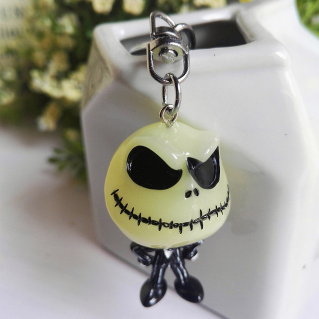 3D The Nightmare Before Christmas Jack Skellington Keychain noctilucent Key Ring Hanger Funny key chain (Need to absorb light)