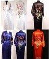 O Envio gratuito de homens Chineses de Cetim de Seda Bordado Robe Kimono Bath Vestido Flor Sml XL XXL XXXL MR-019