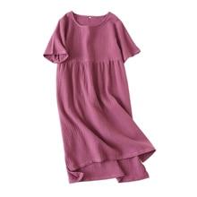 100% Crepe cotton ngắn tay sleepdress nữ sleepshirts nguyên chất màu mùa hè váy ngủ Nữ Bộ Đồ Ngủ đêm