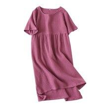 100% crepe de algodão manga curta sleepdress mulheres sleepshirts nightgowns Mulheres Pijamas camisola pura cor do verão