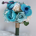 Vintage Blue Rose Wedding Hand Bouquets Artificial Wedding Flowers Bridal Bouquets Wedding Accessories Buque Ramos De Novia