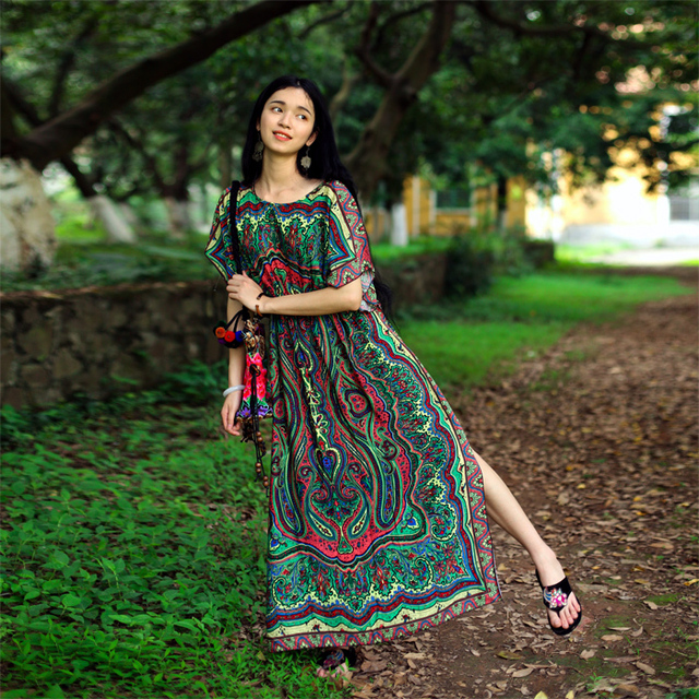 Vestido bohemio del verano, bohochic Vintage Ethnic Nepal India ...