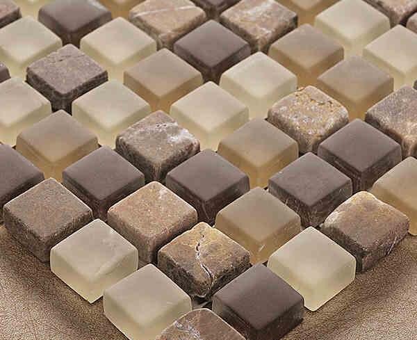 Marroni colore di cristallo di vetro misto tessere di mosaico in