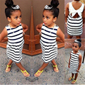 2016 Summer Baby Kids Girls Party Wedding Striped Bowknot Gown Fancy Dress 2-6Y