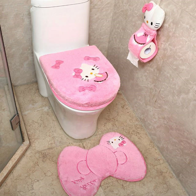 4pcs Set Hello Kitty Bathroom Set Toilet Seat Cover Wc Seat Cover