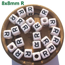 Cube Square 8mm Alphabet Beads Plastic Letter R Beads Deco Decoden ABC Bead 100 pieces Letter 500 1000 2600pcs bag 6 6mm cube acrylic letter beads white with black printed mixed a z alphabet initial plastic square beads