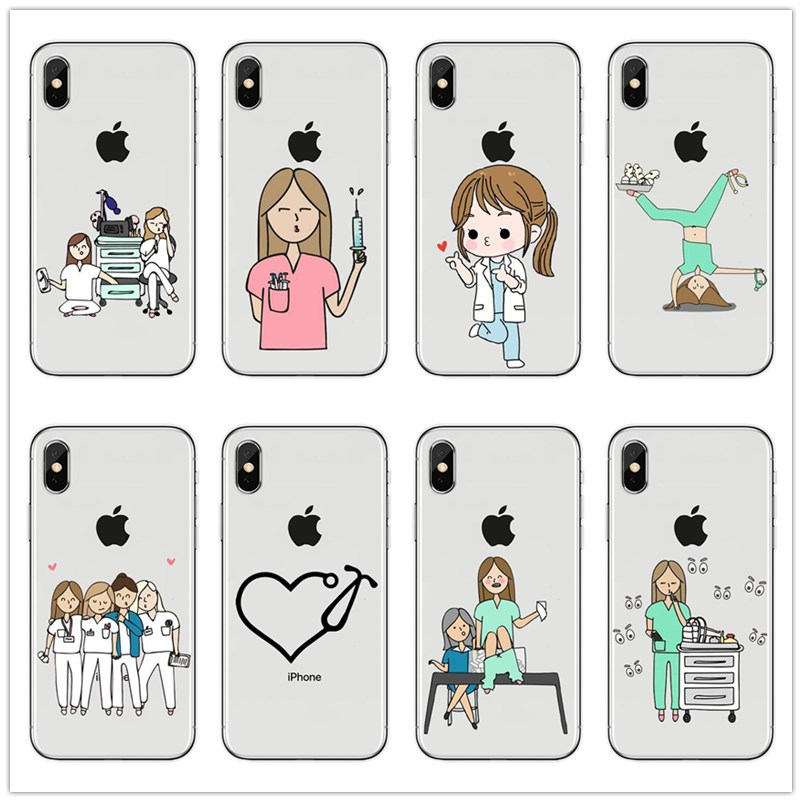 Half-wrapped Case Maiyaca Spain Cartoon Medicine Doctor Nurse For Iphone 4s 5c 5s 6s Plus X Xr Xs Max Phone Cases Transparent Soft Tpu Cover Cases Exquisite Craftsmanship;