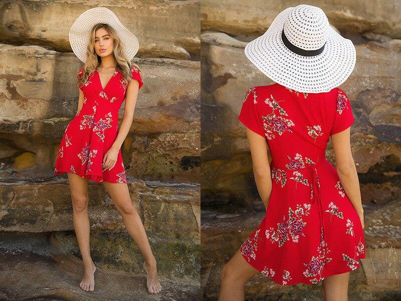 ae0daee4 Mujeres vestido de verano 2018 v cuello Cap manga corta mini vestido casual  Boho Beach vintage vestido de impresión floral sundress en Vestidos de La  ropa ...