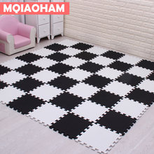 "MQIAOHAM EVA New 9pcs 11.8""*11.8"" Puzzle Floor GYM Soft Kids Foam Mat Black White baby play puzzle foam Crawling Yoga Exercise(China)"