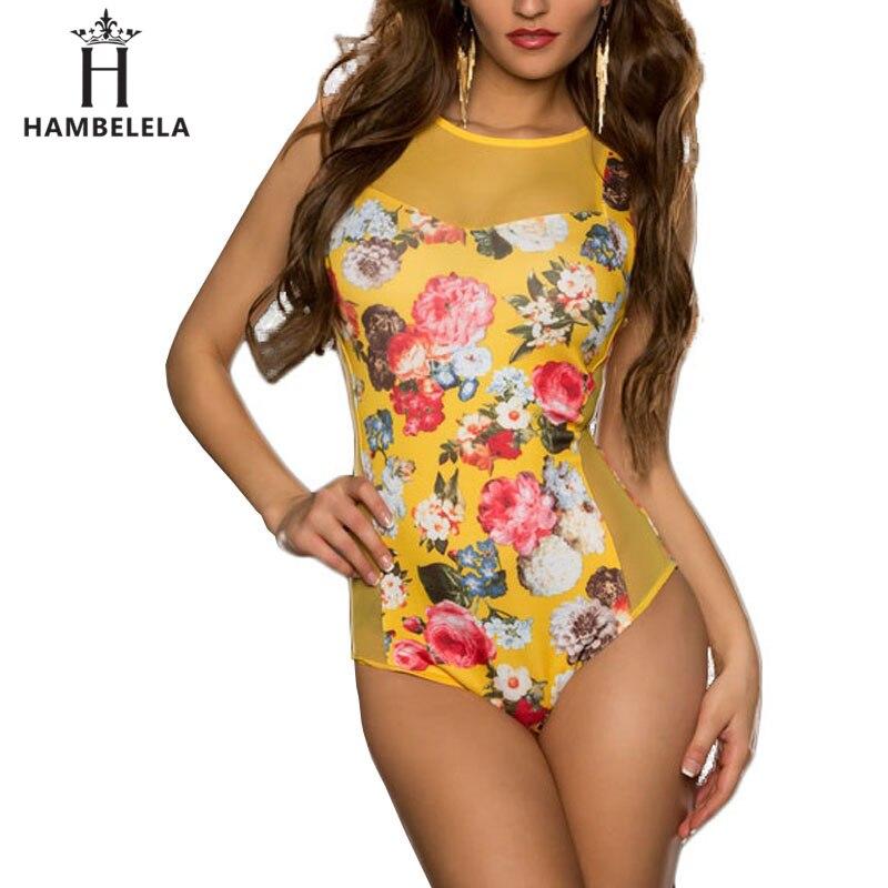 HAMBELELA 2017 Nytt Sommar Kvinnor Bodysuits Blommönster Sexy Club - Damkläder - Foto 1