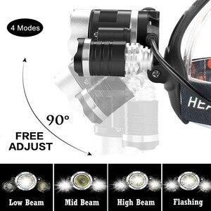 Image 4 - ZOOM LED Scheinwerfer Fischerei Scheinwerfer 3 * XML T6 USB Aufladbare Sensor Lampe Wasserdichte Kopf Taschenlampe Kopf Lampe durch 18650