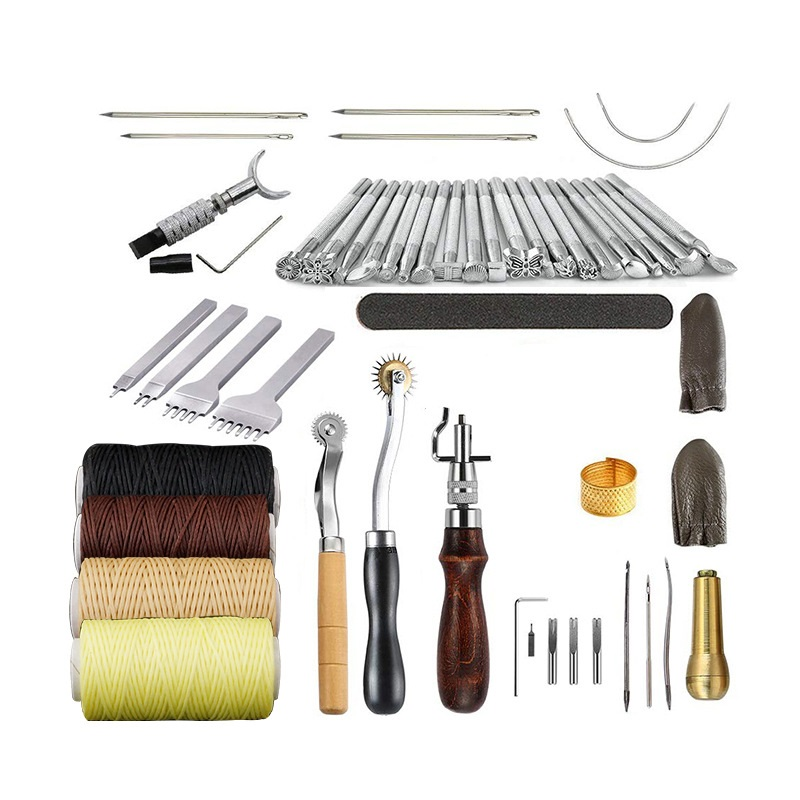 34Pcs Set DIY Tools Handcraft 2019NEW Handmade Leather Suits Punch Home Edger Groover Trench Belt Device